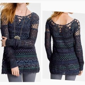 Free People ring of roses crochet sweater blue L